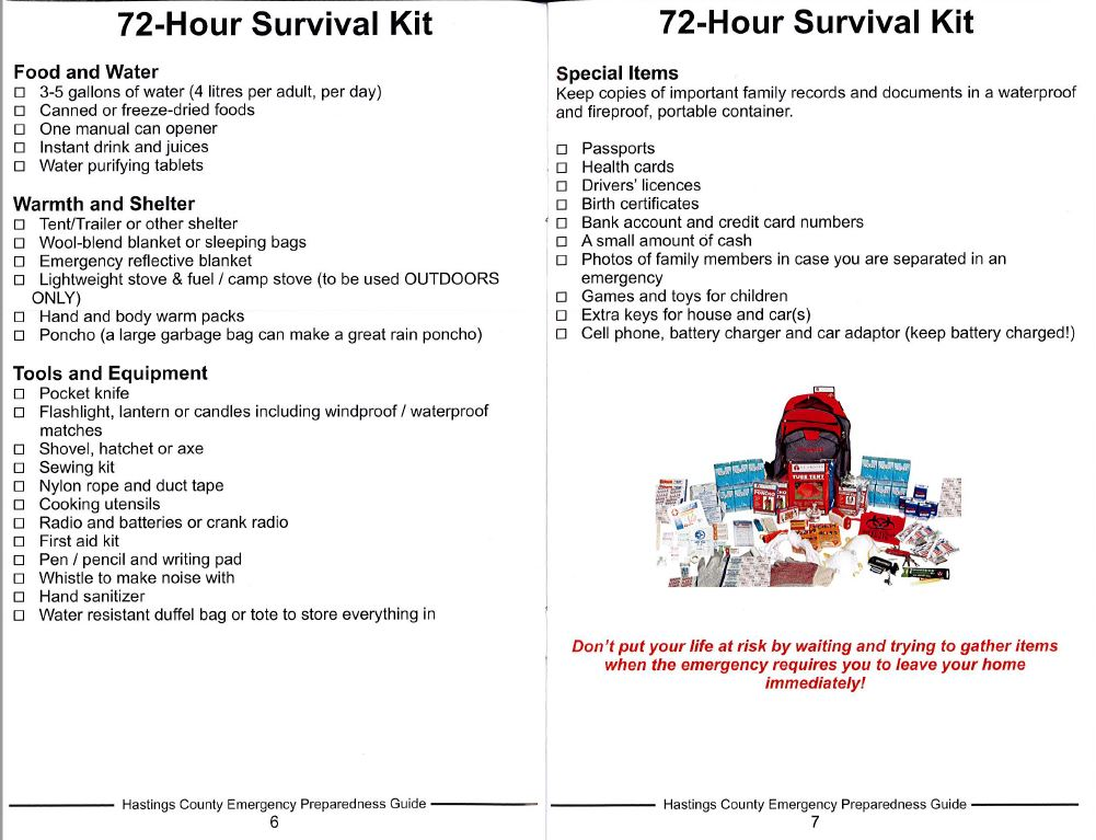 Be prepared - 72 Hour Survival Kit - Township of Stirling-Rawdon